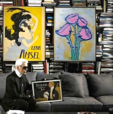 Carl Lagerfeld's library with deco flowers