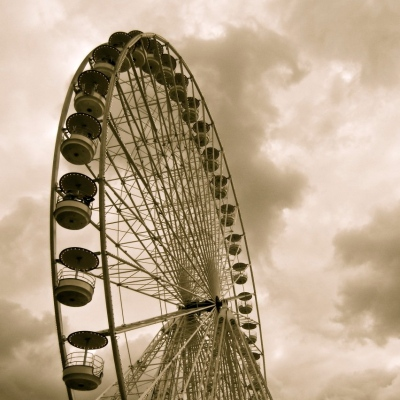 sepia ferris wheel lillibridge paris dakota 1966