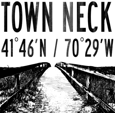 town neck black and white with image
