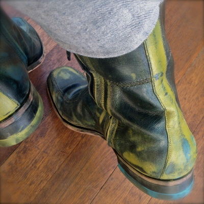 Lisa Lillibridge dakota 1966 boots behind with green stripe