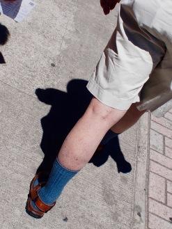 dark socks and sandals
