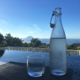 waterbottle island view by pool