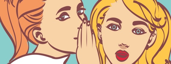nice vector pop art retro comic  illustration. Woman whispering gossip